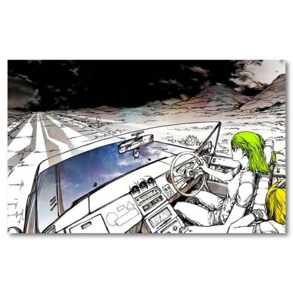 Αφίσα (αυτοκίνητο, τέχνη, χρώμα, δρόμος, cabrio, μαύρο, λευκό, άσπρο)
